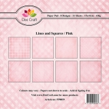 Papiery Dixi 15x15 cm Lines and squares Pink